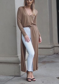 Khaki Cut Out V-neck Long Sleeve Fashion Maxi Dress