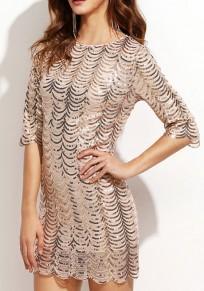 Golden Sequin Round Neck Elbow Sleeve Fashion Mini Dress