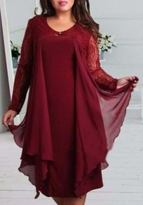 Burgundy Patchwork Lace Irregular Round Neck Long Sleeve Plus Size Midi Dress