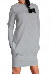 Light Grey Pockets Round Neck Long Sleeve Sweatshirt Mini Dress