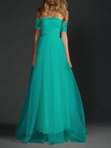 Tulle robe dentelle longue bustier élégant de soirée turquoise