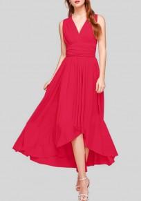 Vestido largo irregulares espalda cruzada escote profundo sin mangas rojo