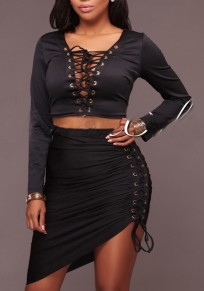 Black 2-in-1 Irregular V-neck Long Sleeve Fashion Mini Dress
