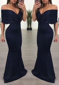 Navy Blue Off Shoulder Open Back Mermaid Prom Evening Party Maxi Dress
