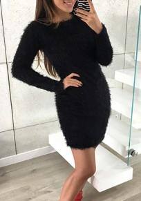 Mini vestido cuello redondo manga larga suéter delgado negro