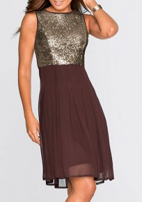 Coffee Sequin Patchwork Round Neck Sleeveless Fashion Midi Dress