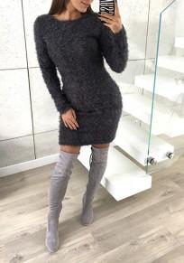 Dunkelgrau Rundhals Langarm Mode Bodycon Mohair Minikleid Pulloverkleider Winter