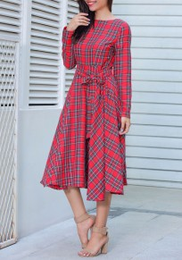 Red Plaid Belt Sashes Draped Pleated Audrey Hepburn Long Sleeve Vintage Midi Dress