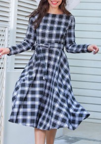 Black Plaid Belt Draped Round Neck Long Sleeve Vintage Midi Dress