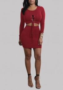 Mini robe cordon recadrée deux pièces lacer bodycon soirée de bal rouge lie de vin