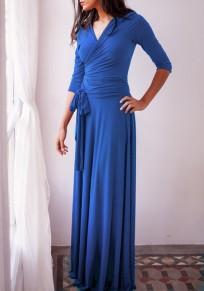 Vestido largo fajas drapeadas multi-way profundo v-cuello banquete de boda fiesta de graduación zafiro azul
