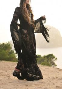Black Patchwork Lace Draped Sheer Flowy Round Neck Boho Maxi Dress