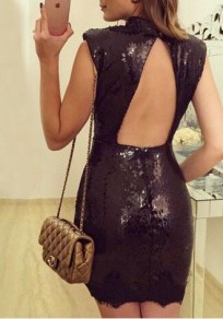 Black Sequin Lace Cut Out Backless Bodycon Band Collar Party Mini Dress