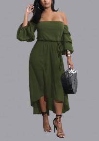 Armeegrün Schärpen Hoch niedrig Aus der Schulter Rückenfrei 3/4 Ärmel Heimkehr Partei Midi Kleid
