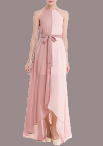 Pink Patchwork Tassel Irregular Sashes High-Low Halter Neck Bridesmaid Homecoming Maxi Dress