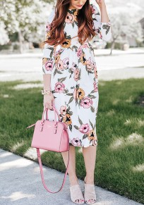 White Floral Print Round Neck Long Sleeve Sweet Midi Dress