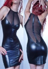Robe courte mesh transparent cuir latex slim moulante sans manches clubwear noir