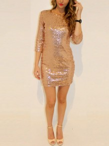 Golden Sequin Backless 3/4 Sleeve Sparkly Banquet Homecoming Party Mini Dress
