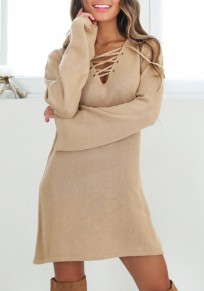 Khaki Drawstring Deep V-neck Lace-up Flare Sleeve Oversized Sweater Mini Dress