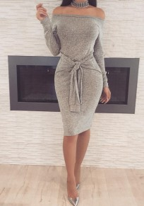 Grey Belt Off Shoulder Backless Lace-up Boat Neck Bodycon Party Midi Dress