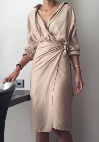 Midi-robe uni ceinture v-col mode beige