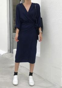 Black Plain Belt V-neck Fashion Midi Dress