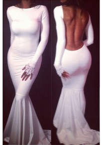 White Cut Out Backless Mermaid Bodycon Round Neck Long Sleeve Maxi Dress