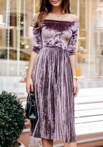 Midi-robe cou bateau plissé manches longues velours côtelé violet
