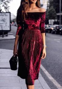 Midi-robe cou bateau plissé manches longues velours côtelé rouge lie de vin