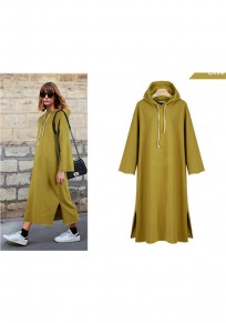 Ginger Yellow Drawstring Cut Out Hooded Casual Maxi Dress