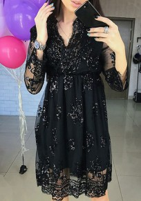 Black Sequin Draped Lace V-neck Long Sleeve Fashion Midi Dress