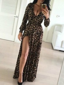 Coffee Leopard Print Draped Sashes Slit Side Deep V-neck Party Maxi Dress