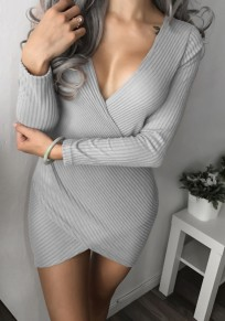 Grey Draped Irregular V-neck Long Sleeve Fashion Mini Dress