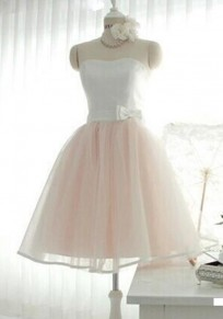 White-Pink Patchwork Grenadine Bow Off Shoulder Backless Cute Bridesmaid Homecoming Midi Dress