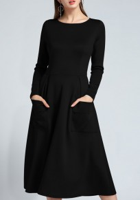 Black Pockets Round Neck Long Sleeve Midi Dress