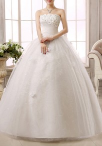 White Patchwork Lace Bandeau Tulle Tutu Elegant Wedding Gowns Maxi Dress