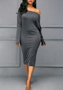 Midi-robe épaule asymétrique manches longues mode gris