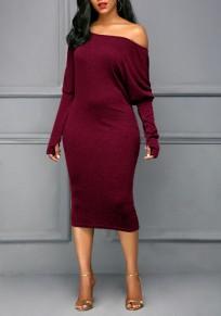 Midi-robe épaule asymétrique manches longues mode rouge lie de vin