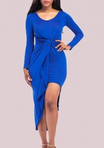 Royal Blue Irregular Bodycon Round Neck Long Sleeve Party Midi Dress
