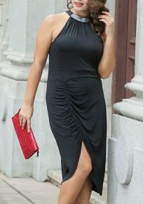 Midi-robe cravate irrégulière dos dos-nu plissée à l'épaule noir
