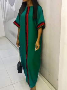 Green Tribal Plus Size African Traditional 3/4 Sleeve Robe Casual Maxi Dress