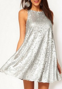 Silver Sequin Round Neck Sleeveless Above Knee Mini Dress