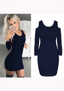 Dark Blue Plain Cut Out U-neck Fashion Mini Dress