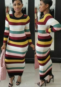 Multicolor Striped Long Sleeve Bodycon Women Fashion Maxi Dress