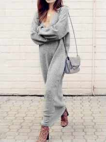 Grey Draped Deep V-neck Long Sleeve Casual Elegant Fashion Long Knit Jumper Maxi Dress