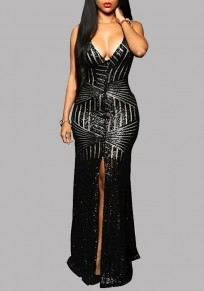 Black Striped Sequin Cross Back Backless Slit Spaghetti Strap Deep V-neck Prom Maxi Dress