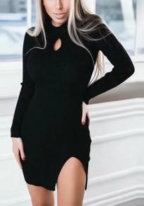 Mini robe fendue sur le côté manches longues noir