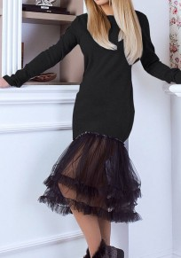 Black Grenadine Patchwork Draped Long Sleeve Round Neck Fashion Midi Dress