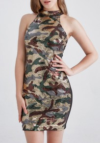 Robe paillettes camouflage licou cou partie moulante noir