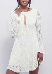 Mini vestido encaje floral cortado manga larga fiesta de bienvenida blanco